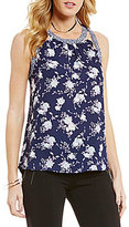 Takara Floral Print Contrast Trim High-Low Tank Top