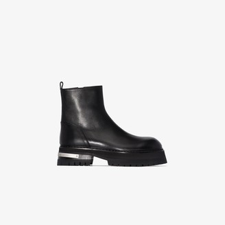 Ann Demeulemeester Black Chunky Sole Leather Ankle Boots