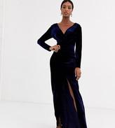 TFNC Tall Tall velvet wrap maxi dress in midnight