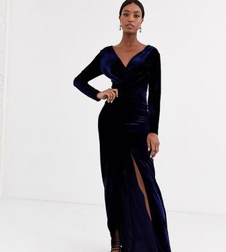 TFNC Tall Tall velvet wrap maxi dress in midnight-Navy