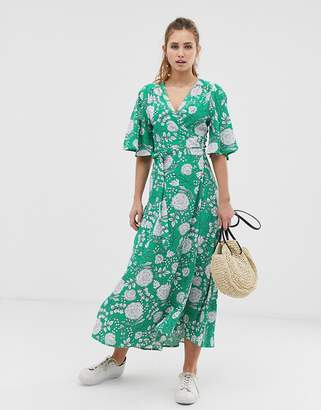 Brave Soul kea midi wrap dress in floral print-Green
