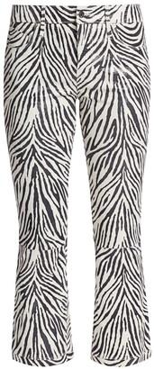 RtA Kiki Zebra Mid-Rise Kick Flare Cropped Leather Jeans