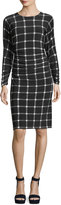 Norma Kamali Long Dolman-Sleeve Shirred-Waist Plaid Cocktail Dress