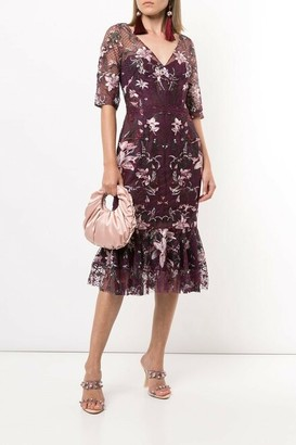 Marchesa Notte Embroidered Lattice Tulle Cocktail Dress