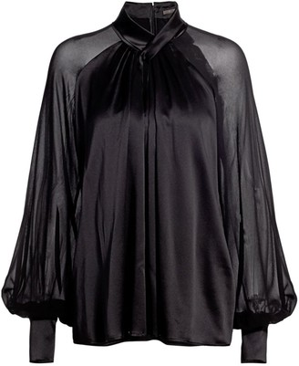 Max Mara Enna Sheer Balloon-Sleeve Silk Blouse