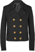 Alexander McQueen Double-breasted Wool And Silk-blend Twill Peacoat - Black