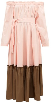 Marios Schwab St Barts Off-the-shoulder Cotton-poplin Dress - Pink Multi