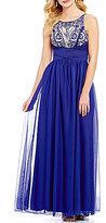 Sequin Hearts Beaded-Bodice Long Dress