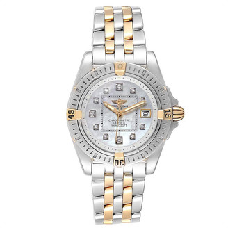 Breitling MOP Diamond 18K Yellow Gold and Stainless Steel Cockpit B71356 Women's Wristwatch 31.8MM