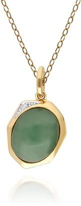 Gemondo Irregular Dyed Green Jade & Diamond Pendant