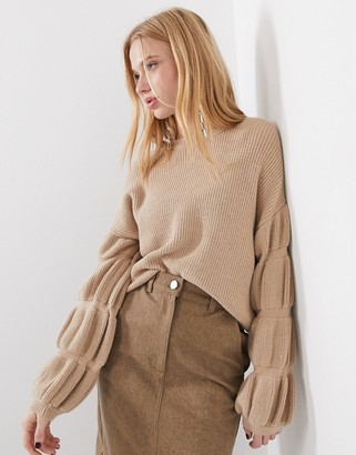 Selected knitted jumper with sleeve detail in camel-Brown