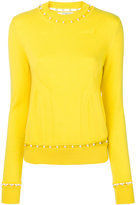 Givenchy faux pearl trim jumper - women - Silk/Pearls/Cashmere/Wool - S