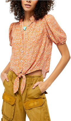 Free People Celia Animal Print Blouse