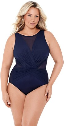 Miraclesuit Plus Size Solid Palma One-Piece (Midnight Blue) Women's Swimsuits One Piece