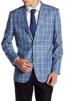 English Laundry Trim Fit Blue Windowpane Two Button Notch Lapel Suit Separates Jacket