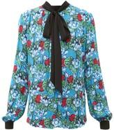 Mary Katrantzou Veddar Floral-print Pussy-bow Silk Blouse - Womens - Blue Multi