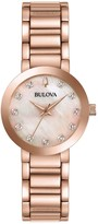 Bulova Women's Rosetone Diamond Accent BraceletWatch