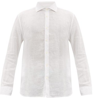 120% Lino Spread-collar Slubbed-linen Poplin Shirt - Mens - White