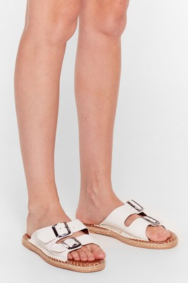 Nasty Gal Womens You Know the Espadrille Faux Leather Sandals - White