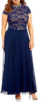 Jodi Kristopher Plus Two-Piece Cap Sleeve Beaded Mock Neck Lace Top Long Dress