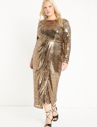 ELOQUII Sequin Maxi Dress with Wrap Skirt