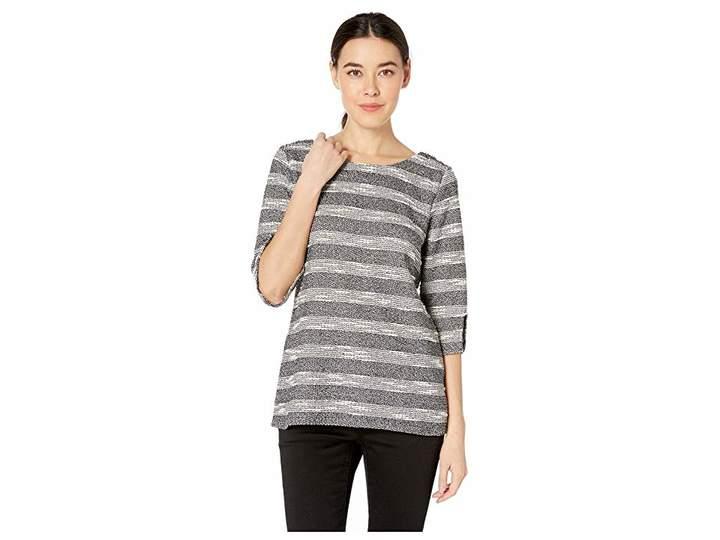3-4 Sleeve Split Heavy Gauze Knit Top