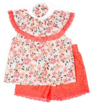 Little Lass Baby & Toddler Girl Floral Tie-Front Blouse & Shorts, 2pc Outfit Set