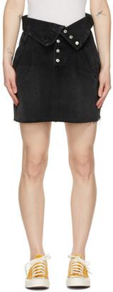 RE/DONE Black 80s Fold Over Miniskirt