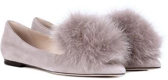 Jimmy Choo Gale fur-trimmed suede ballet flats