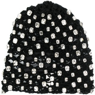 Saint Laurent crystal embellished knitted beanie