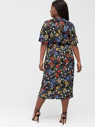 V By Very Curve Angel Sleeve Viscose Midi Dress - Ditsy Print