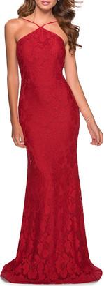 La Femme Stretch Lace Open-Back Halter Gown