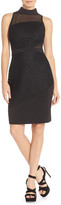 Adelyn Rae Mock Neck Mixed Media Sheath Dress