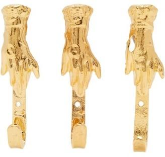 Alighieri Set Of Three Brass Coat Hooks - Gold