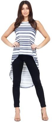 M&Co Izabel striped drop hem top