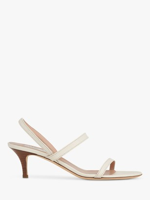 LK Bennett Natasha Leather Kitten Heel Sandals, Off White