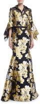 Badgley Mischka Jacquard Shirtwaist Gown w/ Belt