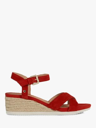 Geox Women's Ischia Corda Suede Wedge Heel Sandals