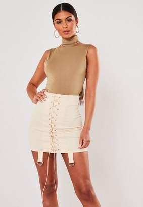 Missguided Camel Seam Free High Neck Sleeveless Bodysuit