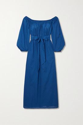 Mara Hoffman + Net Sustain Malika Off-the-shoulder Fil Coupe Organic Cotton Maxi Dress - Blue