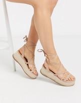 BEIGE Asos Design ASOS DESIGN Tabby flatform tie leg sandals in
