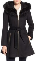 Laundry by Shelli Segal by Shelly Segal Faux Fur Trim Wool Blend Fit & Flare Coat