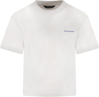 Balenciaga Beige T-shirt For Kids With Logo
