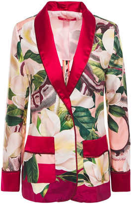 F.R.S For Restless Sleepers Kakia Satin-trimmed Printed Silk-twill Blazer