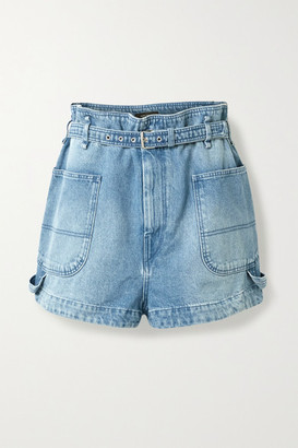 Isabel Marant Belted Denim Shorts - Light denim
