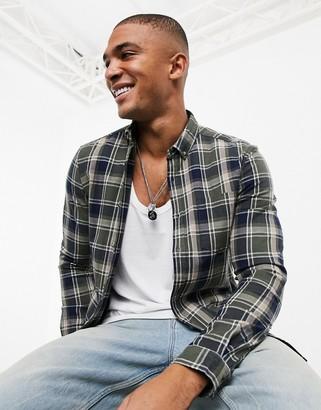 ASOS DESIGN stretch slim check shirt in khaki and navy