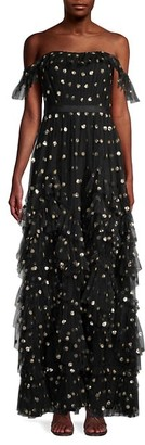 Marchesa Sequin Dot Off-The-Shoulder Maxi Dress