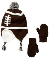 Capelli of New York Football Faux Fur Lined Earflap Beanie & Mittens Set