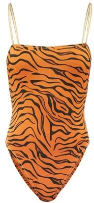 Reina Olga Chloe Tiger-print Swimsuit - Orange Print