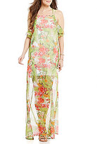 GB Palm Floral-Printed Halter Neck Maxi Dress